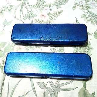 Kotak Pensil Kaleng Biru Metallic 2 pcs