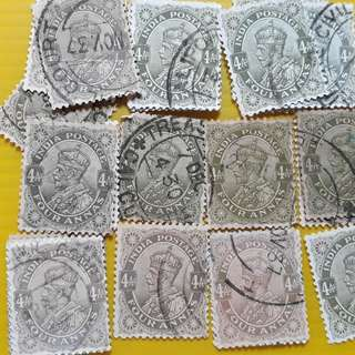 King GEORGE V - 4 ANNAS , Different Shades of Colour - BRITISH INDIA - 20 Stamps LOT - Used & RARE
