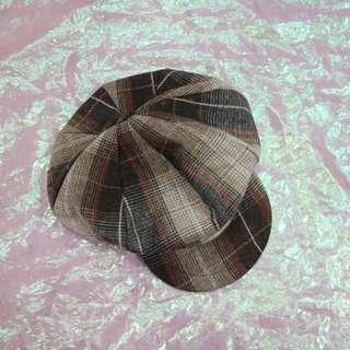 格子報童帽