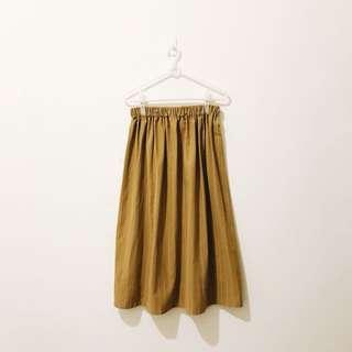 長裙 - 手工製作 long skirt 芥末黃 黃色 細條紋 直條紋