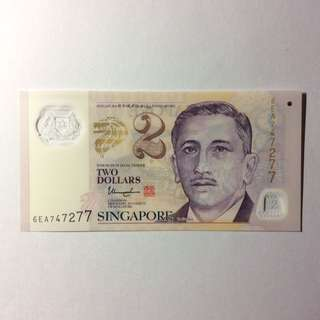 6EA747277 Singapore Portrait Series $2 note.