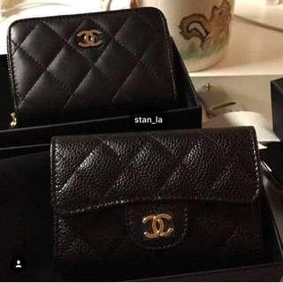 Chanel coins bag card holder black 黑色銀包鎖匙包