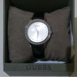 Jam Tangan Guess Women: Leather Strap Black Glossy