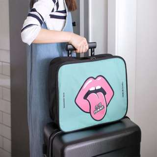 Cute Blue Handcarry Travel Bag Luggage with Sexy Lip Decal