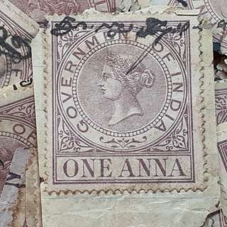 QUEEN VICTORIA - 1 Anna Revenue BIG SIZE Stamp - BRITISH INDIA - 10 Stamps LOT - Used & RARE