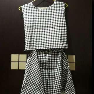 黑白格子兩件式洋裝