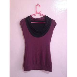 REVERSIBLE COWL NECK TOP (violet and black)