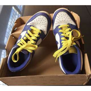 Authentic Nike Women's Dunk Low White Blue Yellow Shoes Size 7