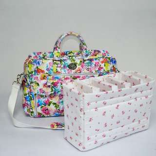 White Floral with Silver Hardware Pretty Camera Bag