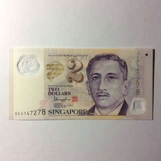 6EA747278 Singapore Portrait Series $2 note.