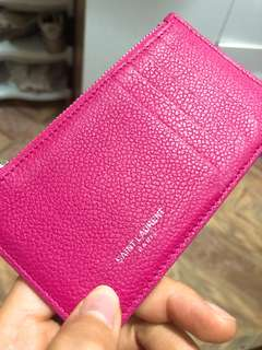 YSL card holder hot pink