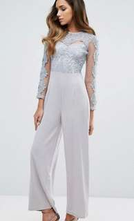 ASOS CLUB L Lace Mesh Upper Jumpsuit with Straight Leg