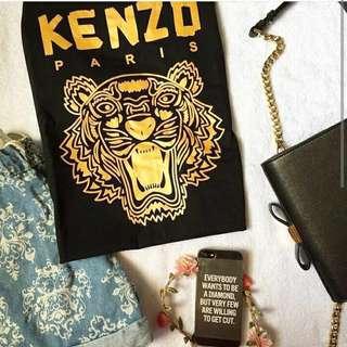 💄 Kenzo Paris Tiger Gold And Black Couple Tee Shirt T-Shirt Top