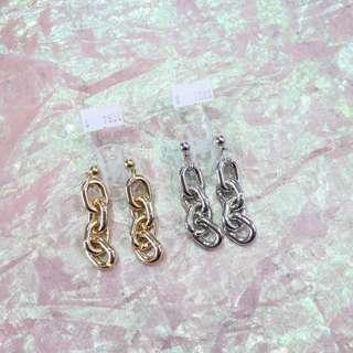 圓珠鐵鍊造型耳環