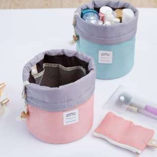 Travel Cosmetic Bag Women New Arrival Barrel Shaped Toiletry Kit Make Up Makeup Case Organizer Pouch Big Capacity Drawstring