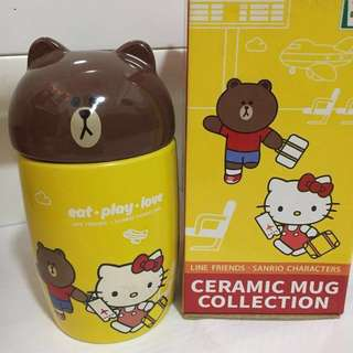 Line Friends Brown and Hello Kitty Ceramic Cup