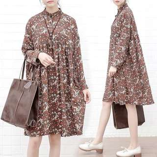 Plus Size Loose long-sleeved floral chiffon skirt dress