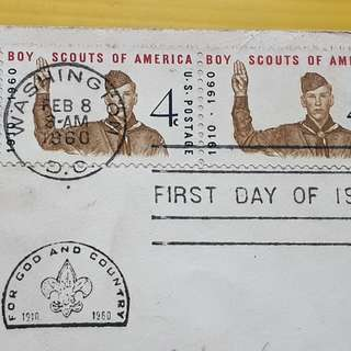1960 - BOY SCOUTS OF AMERICA - U.S.A ( United States of America ) - FDC ( First Day of Issue ) - Postally sent to India