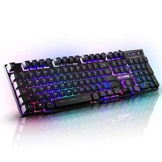 爆款遊戲键盘 背光台式笔記本電脑機械手感网吧网咖104键usb有線