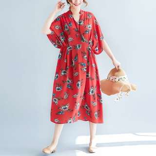 Plus Size Spring and summer collar short-sleeved floral chiffon skirt dress