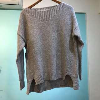 灰色素面寬版針織毛衣