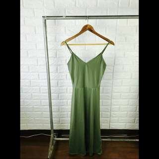 Brand New Army Green V Neck Midi Skater Dress