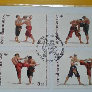 2003 - THAILAND - THAI HERITAGE CONSERVATION DAY , Kick Boxing , Sports - FDC ( First Day of Issue ) with 4 Colourful Stamp