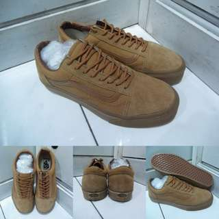 Sepatu Kets Vans Old Skool Classics Canvas Suede Full Brown Coklat
