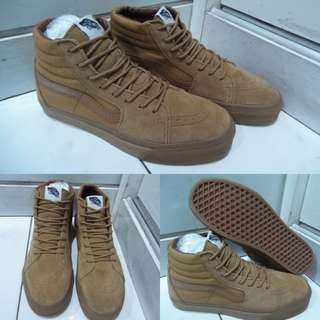 Sepatu Kets Sneakers Vans SK8High Classics Canvas Full Brown Mono Coklat