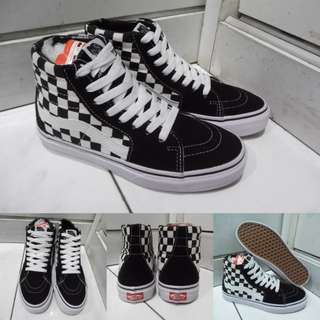 Sepatu Kets Sneakers Vans SK8High Classics Canvas Checkerboard Catur Black White Hitam Putih