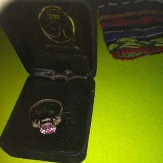 Light pink sterling silver ring size7