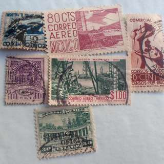 MEXICO - 5 VINTAGE STAMPS LOT - POSTALLY USED