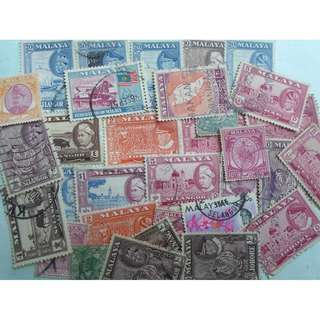 MALAYA - 32 VINTAGE STAMPS LOT - POSTALLY USED - ng38