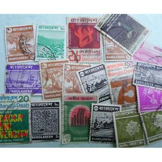 BANGLADESH - 20 VINTAGE STAMPS LOT - POSTALLY USED - ng39