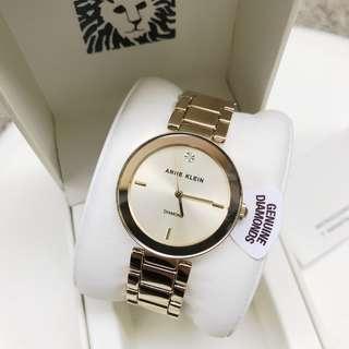 Anne Klein Watch * 1362CHGB Diamond Gold Steel Watch for Women