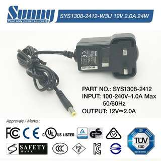 Genuine Sunny Switching Adapter 12V 2.0A 24W replacement power supply adaptor - UK plug