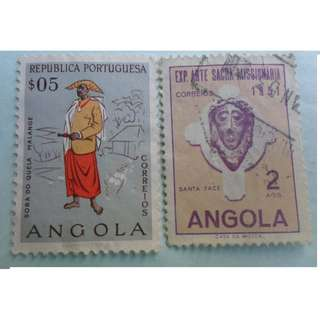 ANGOLA - 2 VINTAGE STAMPS LOT - POSTALLY USED - ng47