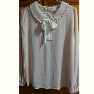 粉色荷葉領雪紡襯衫