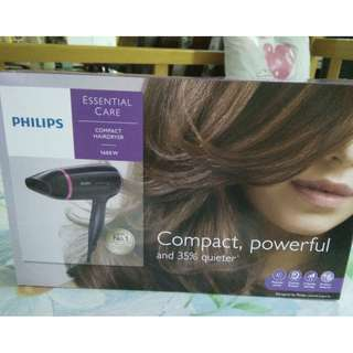 PHILIPS HAIR DRYER MODEL BHD-002 BLACK COMPACT HAIR DRYER 1600W POWERFUL 3 SPEED.