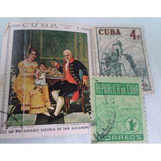 CUBA - 3 VINTAGE STAMPS LOT - POSTALLY USED - ng91