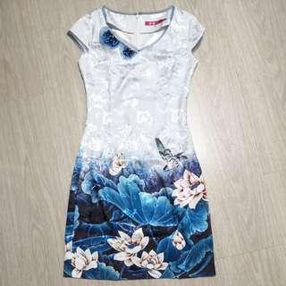 Blue White Ombre Floral Cheongsam Dress
