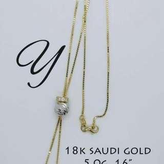 18k saudi gold adjustable necklace