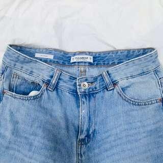 PULL&BEAR 淺刷 男友褲 大刷破 直筒 牛仔褲