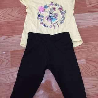 Preloved leggings and shirt for 2-3 years old