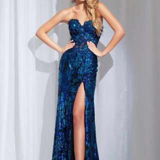 Tony bowls Blue Fully Sequinned Prom Dress