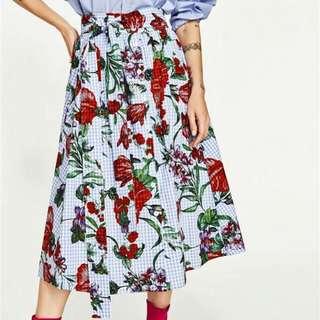 WST 20180 Blue Gingham Flower Skirt