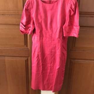 Baju Dress Terusan Pink Magenta  Selutut
