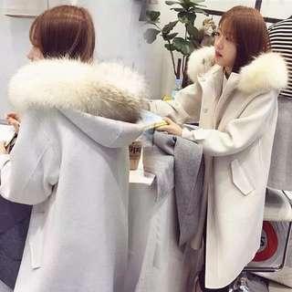 正韓白色毛毛大衣外套