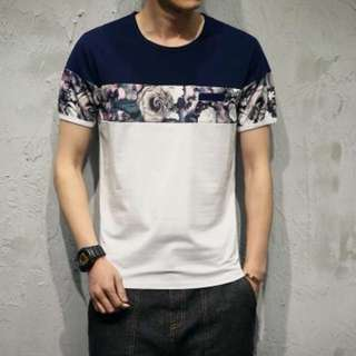 MENS SPLIT COLOUR FLOWER T-SHIRT
