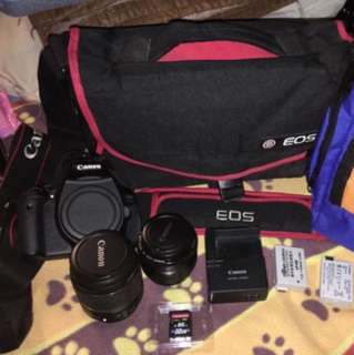 DSLR 600D,2 Lens,original canon bag and strap,2 battery+charger+32g memory